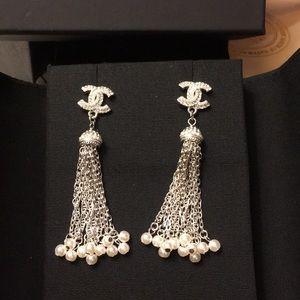 Chanel pearl silver earrings